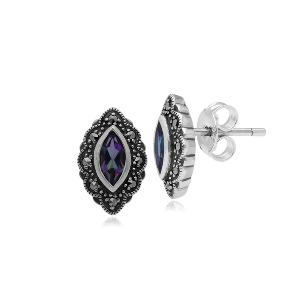Art Nouveau Marquise Mystic Topaz & Marcasite Stud Earrings in 925 Sterling Silver