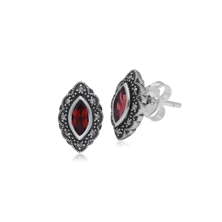 Art Nouveau Marquise Garnet & Marcasite Stud Earrings in 925 Sterling Silver