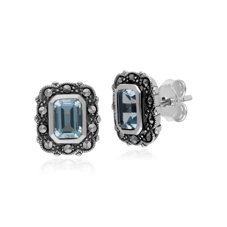 Gemondo Sterling Silver Blue Topaz & Marcasite Octagon Art Nouveau Earrings