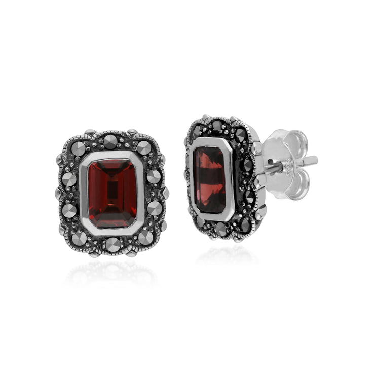 Art Deco Style Octagon Garnet & Marcasite Stud Earrings in 925 Sterling Silver