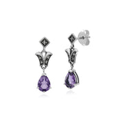 Art Nouveau Style Pear Amethyst & Marcasite Drop Earrings in 925 Sterling Silver
