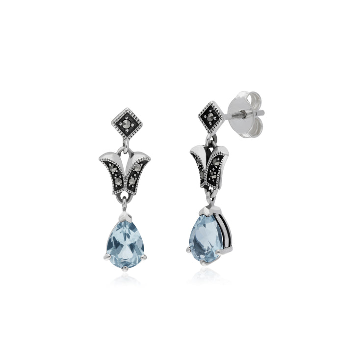 Art Nouveau Style Pear Blue Topaz & Marcasite Drop Earrings in 925 Sterling Silver