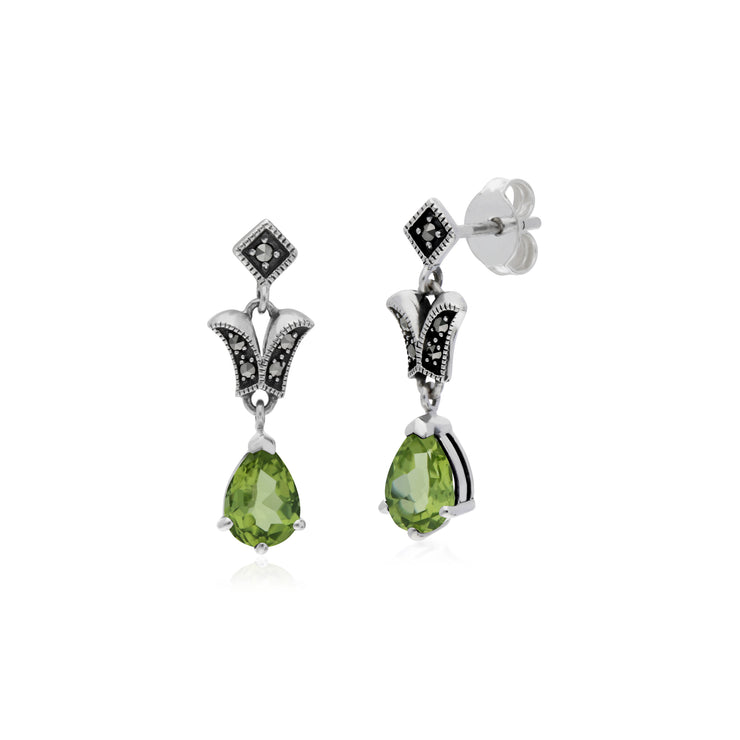 Art Nouveau Style Pear Peridot & Marcasite Drop Earrings in 925 Sterling Silver