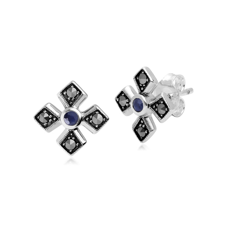 Gemondo Sterling Silver Marcasite & Sapphire September Birthstone Earrings