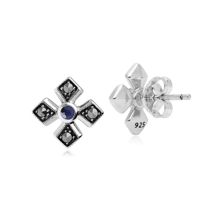 Gemondo Sterling Silver Marcasite & Sapphire September Birthstone Earrings Back