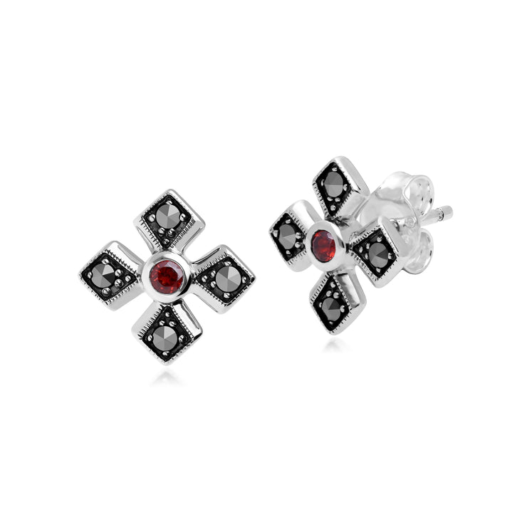 Gemondo Sterling Silver Marcasite & Garnet January Birthstone Earring