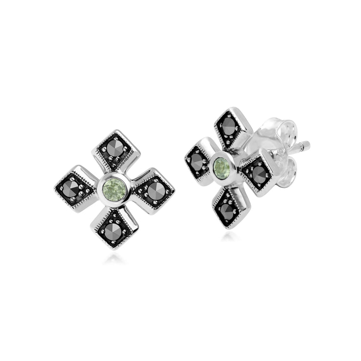Gemondo Sterling Silver Marcasite & Peridot August Birthstone Earrings