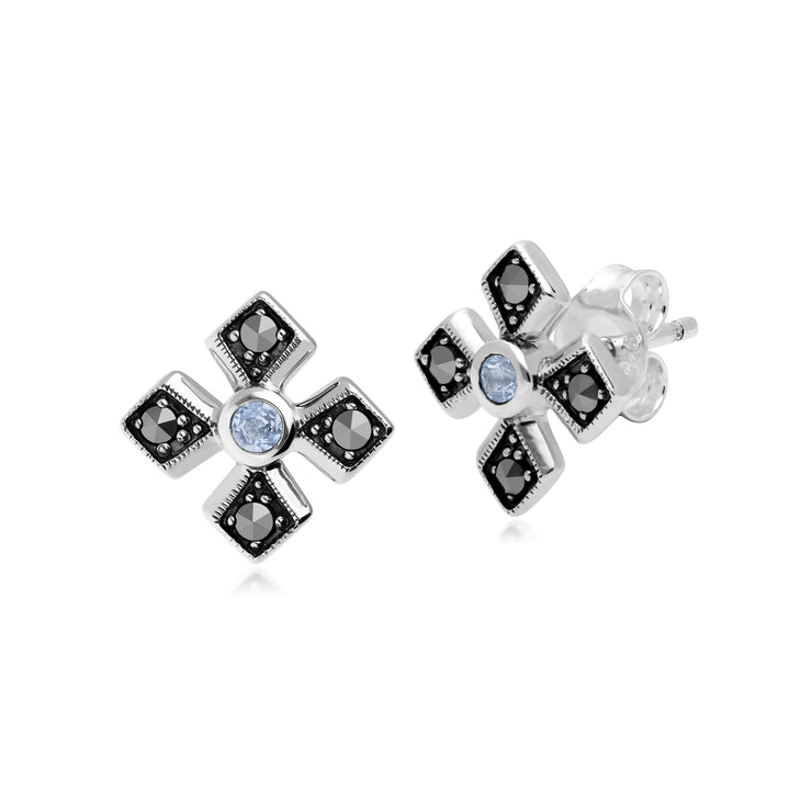 Gemondo Sterling Silver Marcasite & Aquamarine March Birthstone Earring