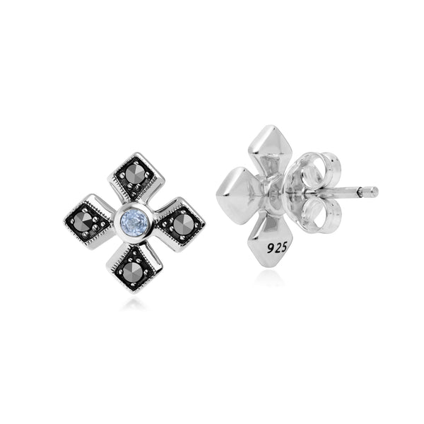 Art Deco Style Round Aquamarine & Marcasite Gothic Style Cross Studs in 925 Sterling Silver