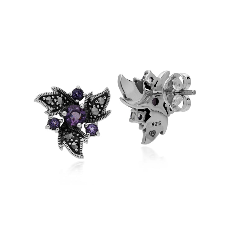 Art Nouveau Style Round Amethyst & Marcasite Floral Stud Earrings in 925 Sterling Silver