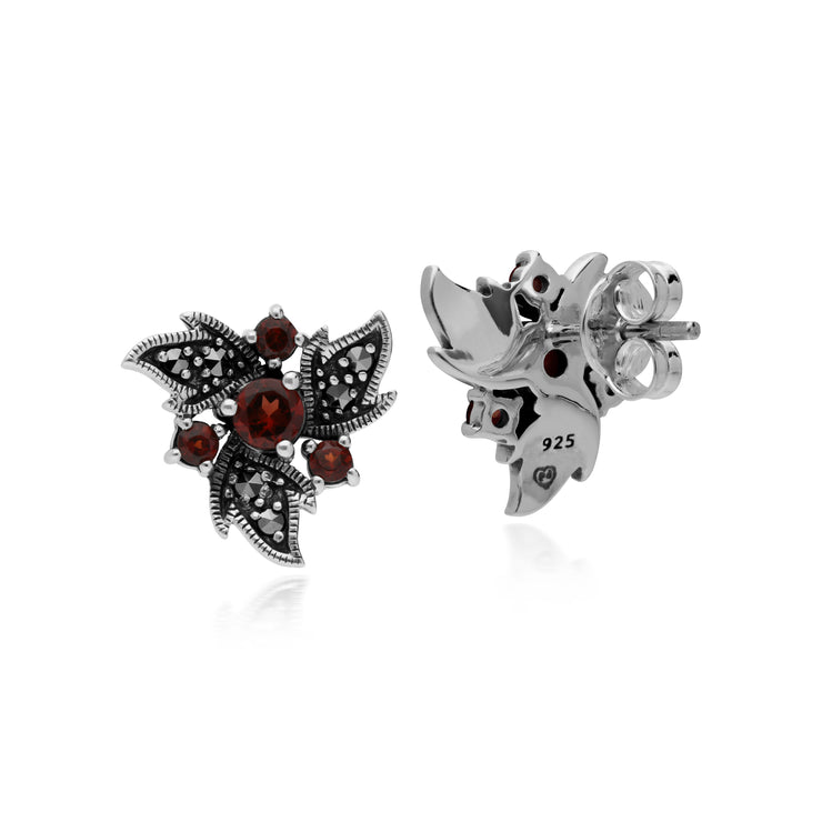 Art Nouveau Style Round Garnet & Marcasite Floral Stud Earrings in 925 Sterling Silver