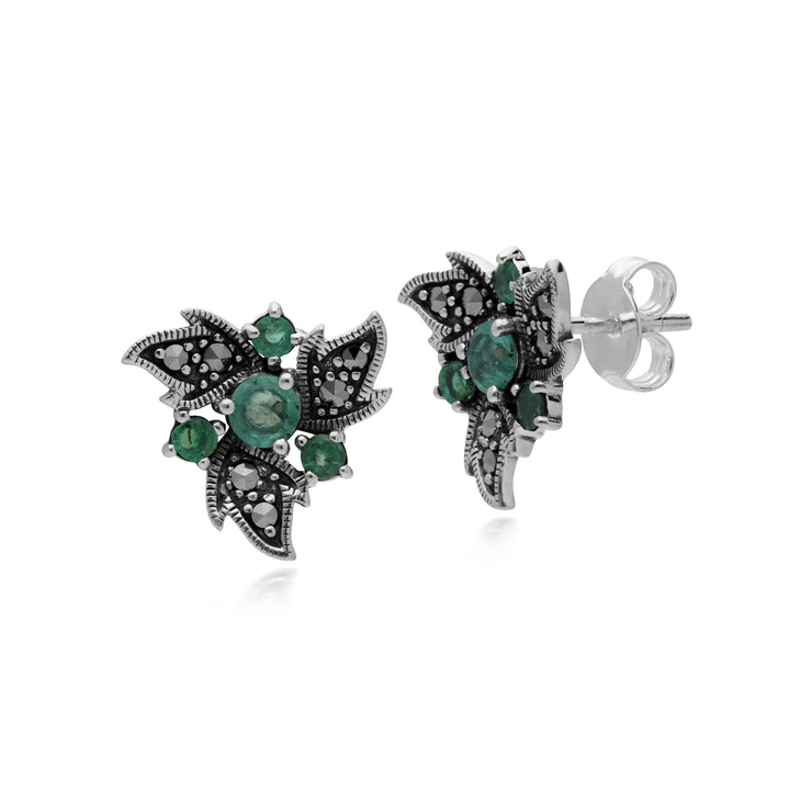 Art Nouveau Style Round Emerald & Marcasite Floral Stud Earrings in 925 Sterling Silver