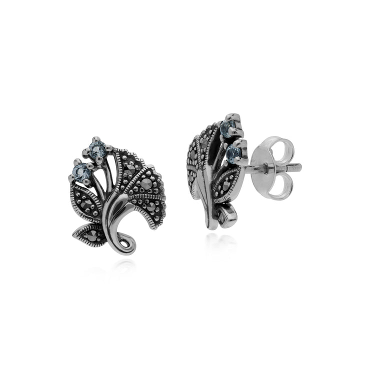 Art Nouveau Style Round Blue Topaz Leaf Stud Earrings in 925 Sterling Silver