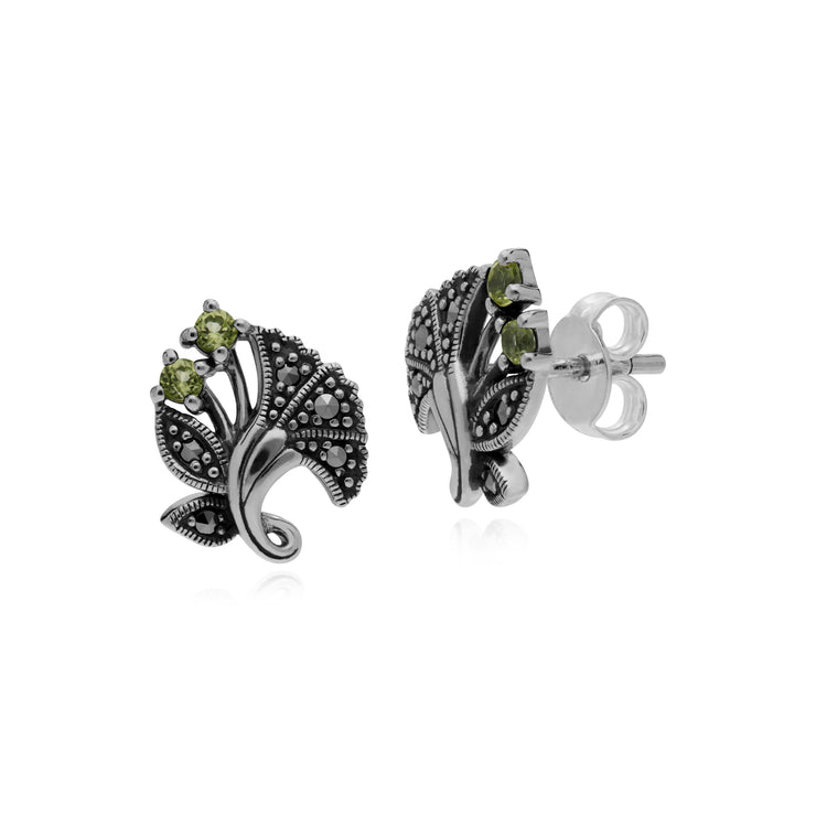 Gemondo Sterling Silver Peridot & Marcasite August Art Nouveau Stud Earrings