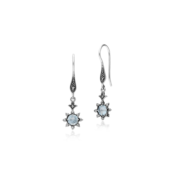 Floral Round Blue Topaz & Marcasite Drop Earrings in 925 Sterling Silver