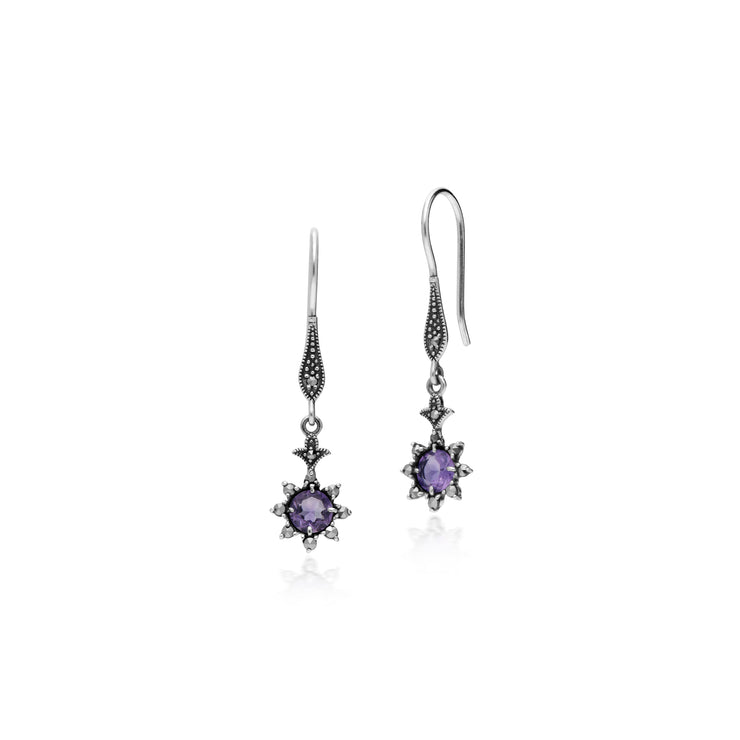 Floral Round Amethyst & Marcasite Drop Earrings in 925 Sterling Silver