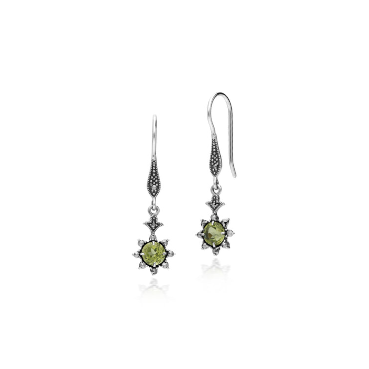 Floral Round Peridot & Marcasite Drop Earrings in 925 Sterling Silver