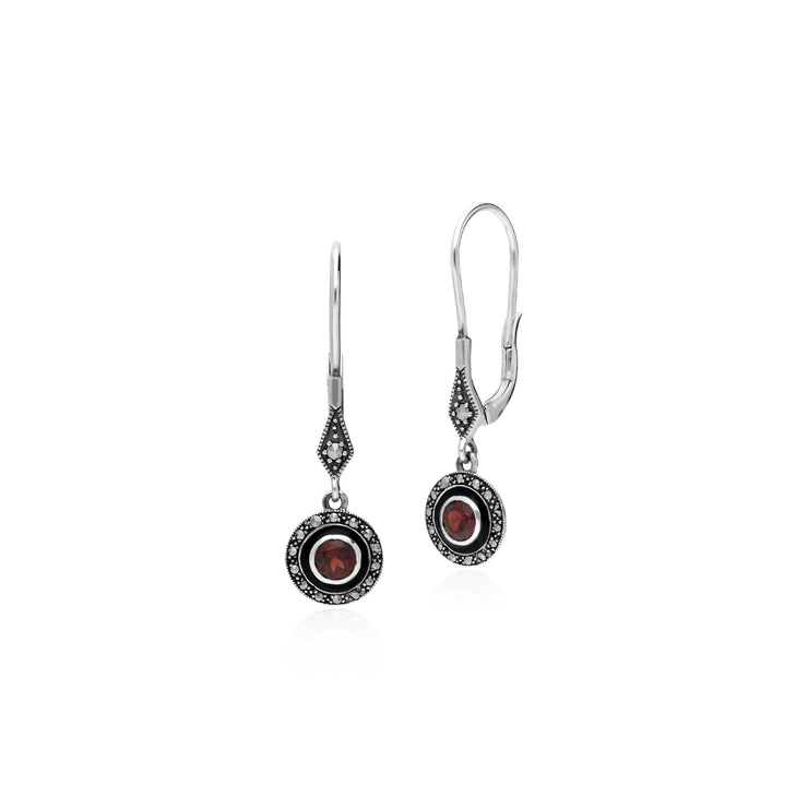 Art Deco Style Round Garnet, Marcasite & Enamel Drop Earrings in 925 Sterling Silver