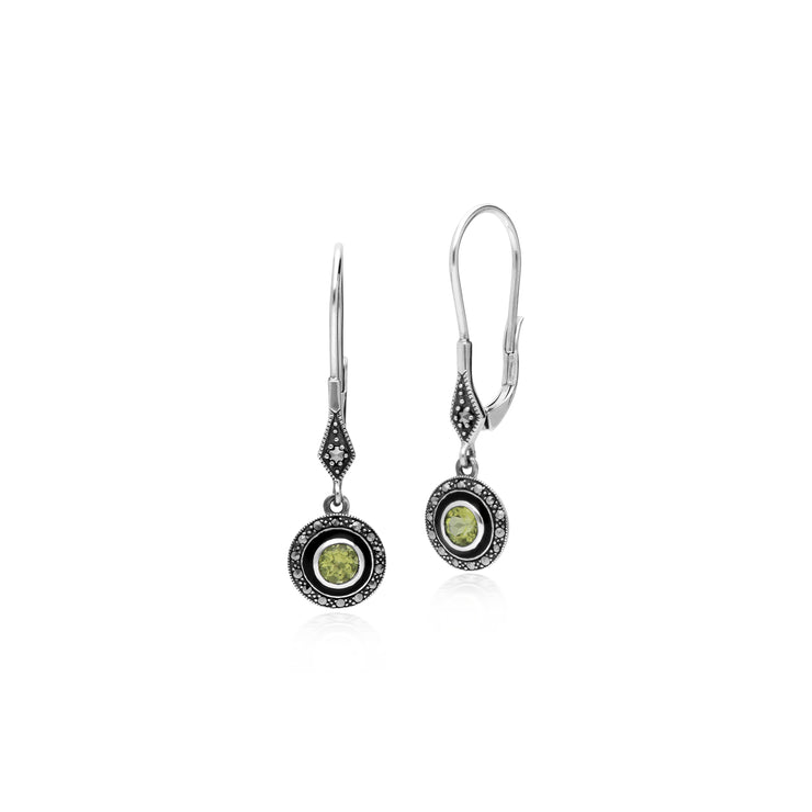 Art Deco Style Round Peridot, Marcasite & Enamel Drop Earrings in 925 Sterling Silver