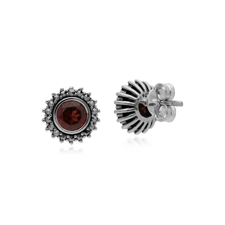 Art Deco Style Round Garnet & Marcasite Halo Stud Earrings in 925 Sterling Silver