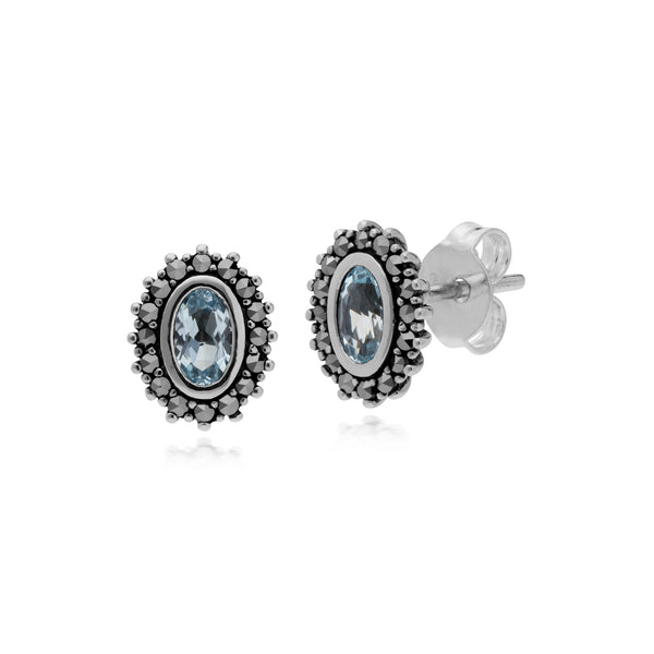Art Deco Blue Topaz & Marcasite Halo Stud Pendant & Ring Set Image 2