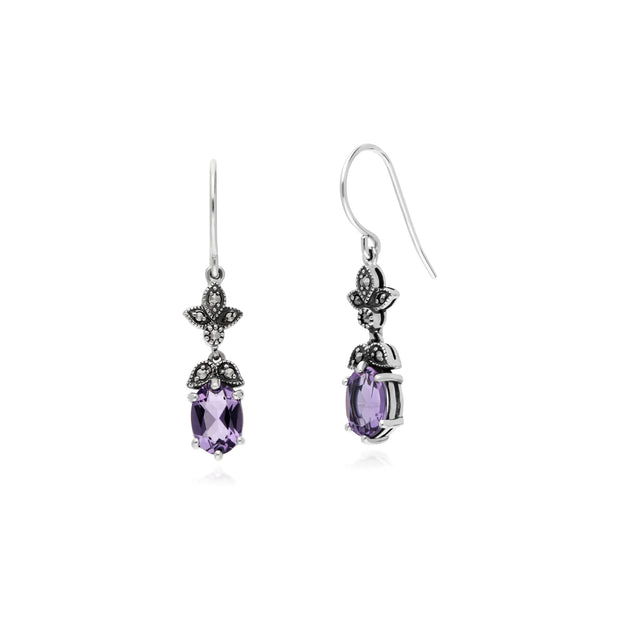 Art Nouveau Style Oval Amethyst & Marcasite Drop Earrings in 925 Sterling Silver