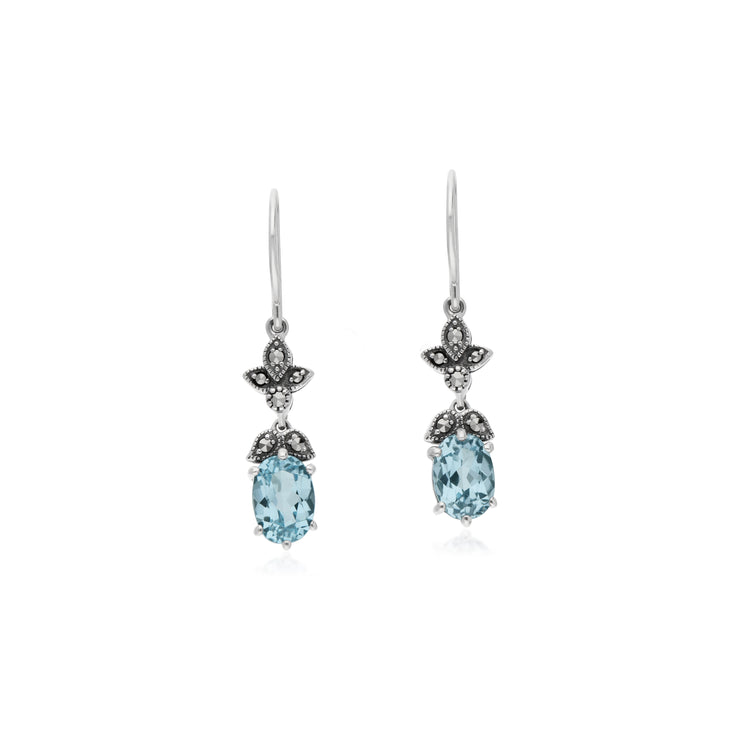 Art Nouveau Style Oval Blue Topaz & Marcasite Drop Earrings in 925 Sterling Silver