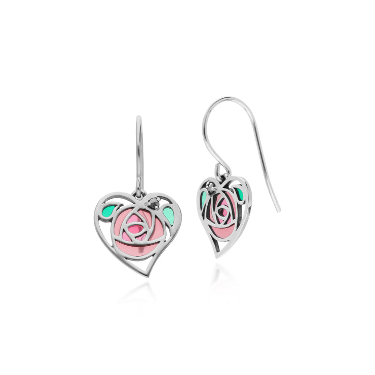 Gemondo Sterling Silver Marcasite Rennie Mackintosh Heart Drop Earrings