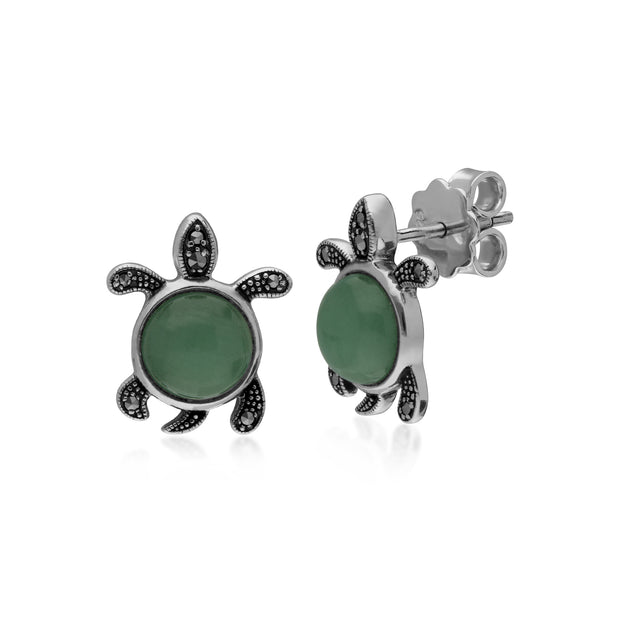 Classic Round Green Jade & Marcasite Turtle Stud Earrings in 925 Sterling Silver
