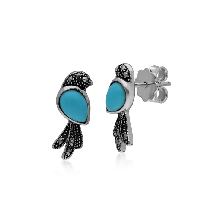 Classic Pear Turquoise & Marcasite Bird Stud Earrings in 925 Sterling Silver