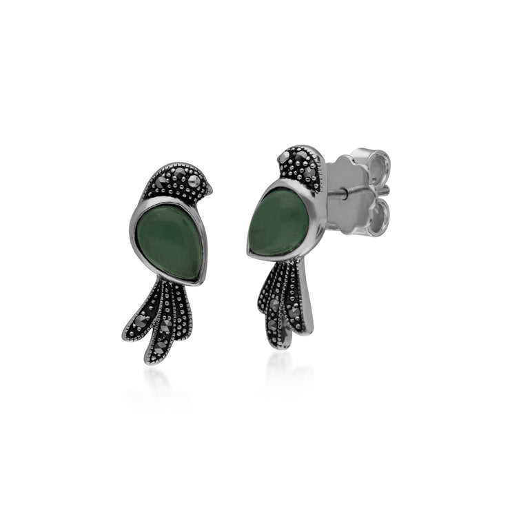 Classic Pear Green Jade & Marcasite Bird Stud Earrings in 925 Sterling Silver