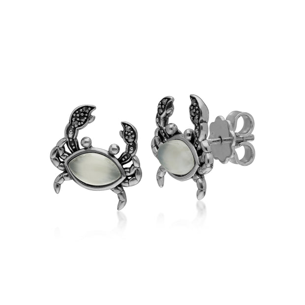 Classic Marquise Moonstone & Marcasite Crab Stud Earrings in 925 Sterling Silver