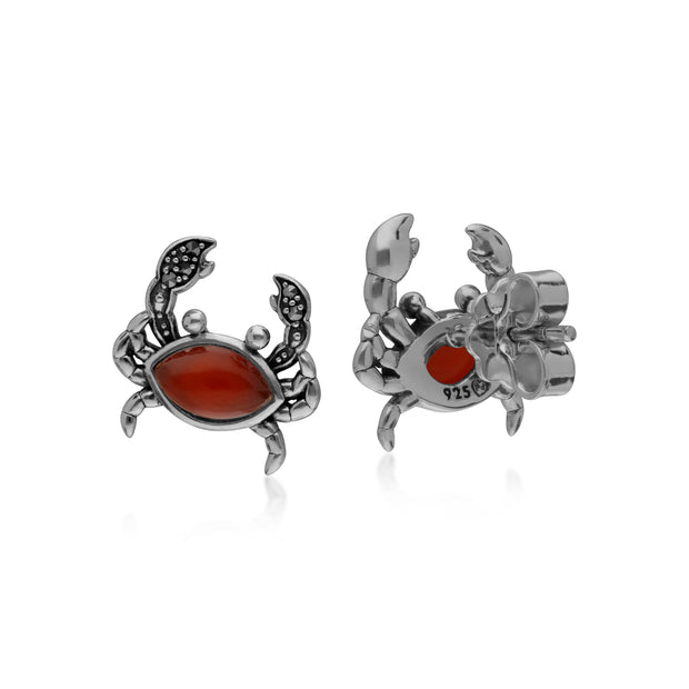 Gemondo Sterling Silver Dyed Carnelian & Marcasite Crab Stud Earrings