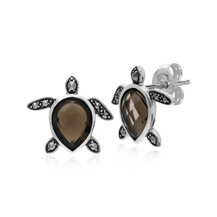 Gemondo Sterling Silver Smoky Quartz & Marcasite Turtle Stud Earrings