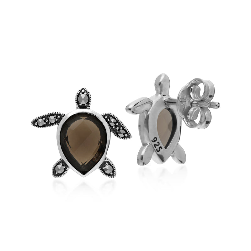 Classic Pear Smokey Quartz Checkerboard & Marcasite Turtle Stud Earrings in 925 Sterling Silver