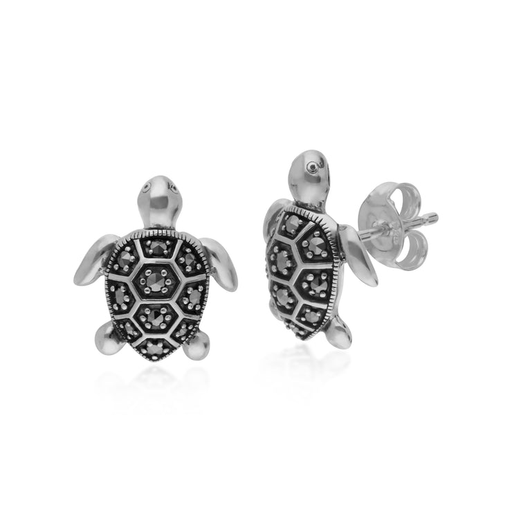 Classic Round Marcasite Turtle Stud Earrings in 925 Sterling Silver