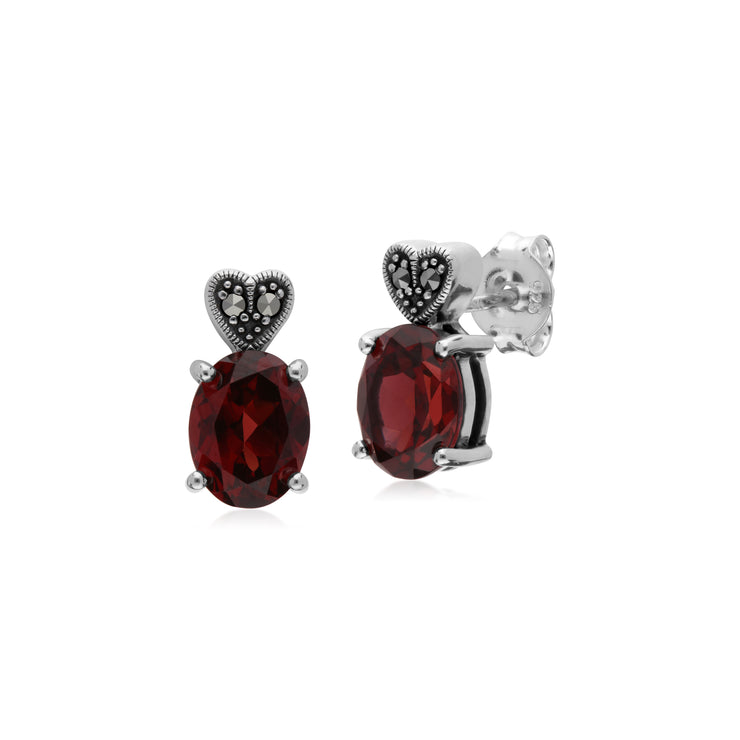Gemondo Sterling Silver Garnet & Marcasite Oval Stud Earrings