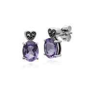 Gemondo Sterling Silver Amethyst & Marcasite Oval Stud Earrings