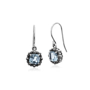 Art Deco Style Square Cushion Blue Topaz & Marcasite Drop Earrings in 925 Sterling Silver