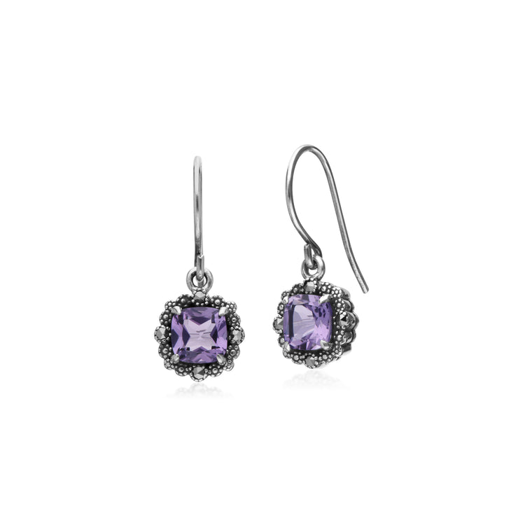 Art Deco Style Square Cushion Amethyst & Marcasite Drop Earrings in 925 Sterling Silver