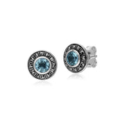Gemondo Sterling Silver Round Blue Topaz and Marcasite Cluster Stud Earrings