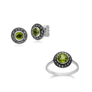 Art Deco Peridot Cluster Studs & Ring Set Image 1
