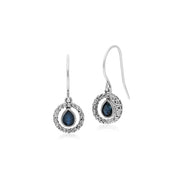 Classic Pear Sapphire & Marcasite Round Halo Drop Earrings in 925 Sterling Silver