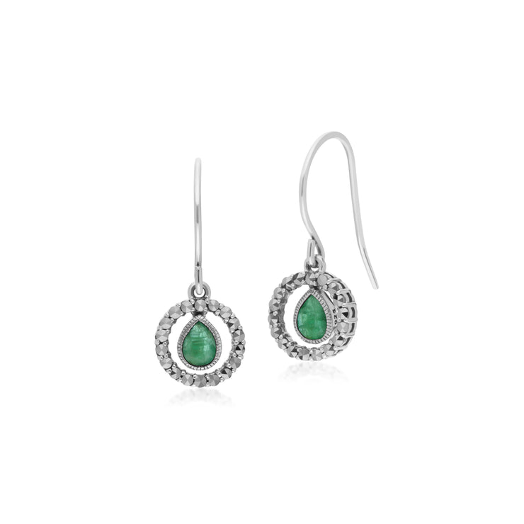 Classic Pear Emerald & Marcasite Round Halo Drop Earrings in 925 Sterling Silver