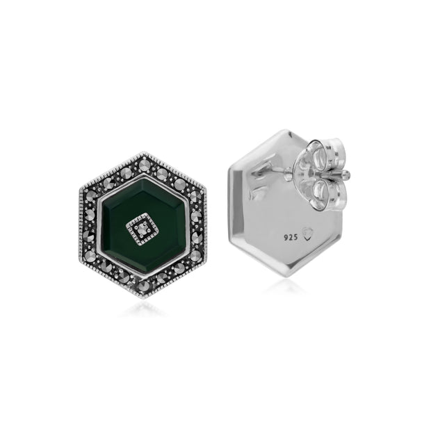 Art Deco Style Dyed Green Chalcedony & Marcasite hexagon Stud Earrings in 925 Sterling Silver