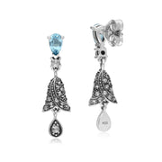 Art Nouveau Style Blue Topaz & Marcasite Bell Drop Earrings in 925 Sterling Silver