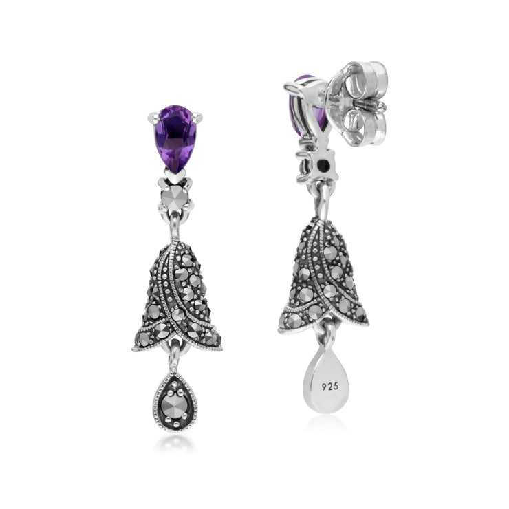 Art Nouveau Style Amethyst & Marcasite Bell Drop Earrings in 925 Sterling Silver