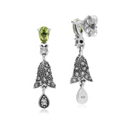 Art Nouveau Style Peridot & Marcasite Bell Drop Earrings in 925 Sterling Silver
