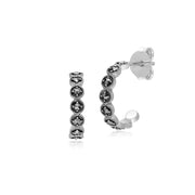 Gemondo  Sterling Silver Marcasite Round Half Hoop Stud Earrings