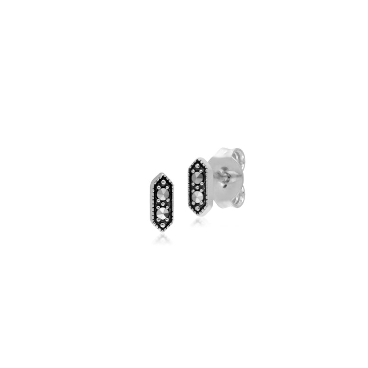 Geometric Round Marcasite Hexagon Stud Earrings in 925 Sterling Silver